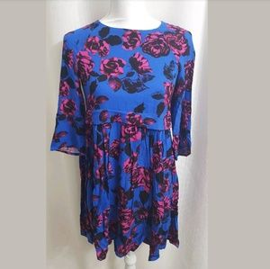 ASOS Petites Floral 3/4 Sleeve Blue Fit n Flare